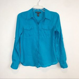 Linen button down shirt blue adjustable sleeves